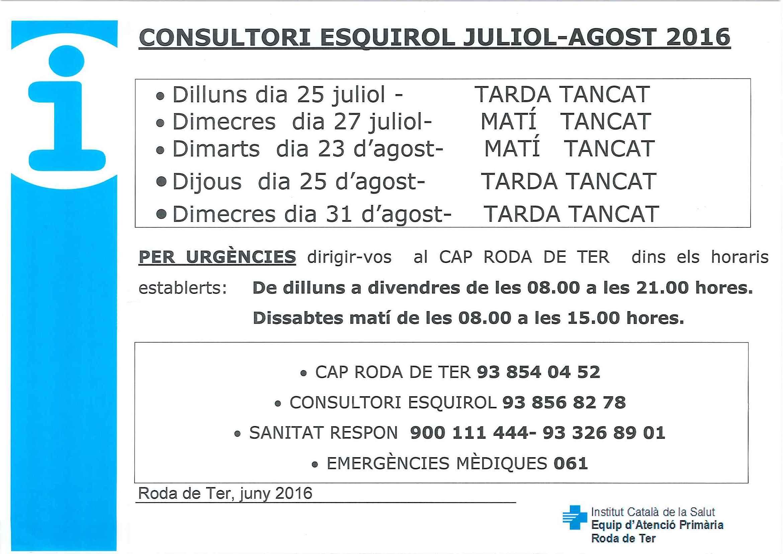 Horaris consultori juliol-agost